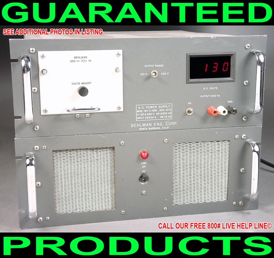 Details about US BEHLMAN 150-C-SBD 1500W 400HZ VARIABLE DIGITAL METERED AC  POWER SUPPLY SOURCE