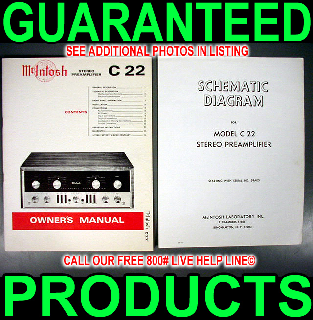 mcintosh c 22 c22 tube audio pre amplifier preamp 12ax7 manual rh ebay com mcintosh c22 manual pdf mcintosh c22 reissue manual